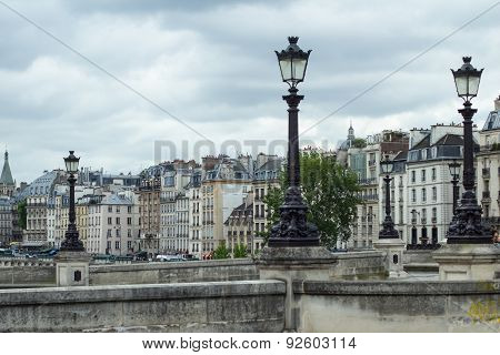 Street Lamps Over Traditional Parisian Architecture