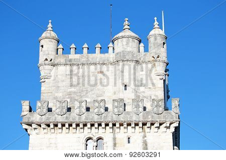 Detail from the tower of Belem in Lisbon Portugal