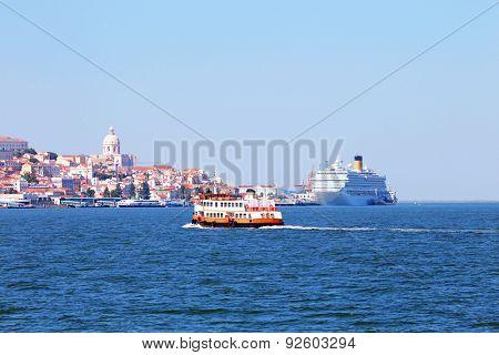 Ferry cruising on the river Tejo near Lisbon Portugal