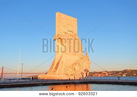 Monument to the discoveries Lisbon at twilight