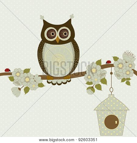 Floral Card With Cute Stylized Owl
