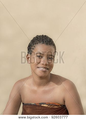 Young Afro beauty after a shower