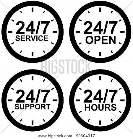 Around-the-clock operating hours black and white vector sign isolated on white background.