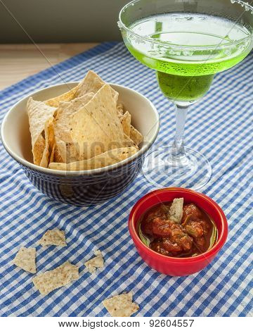 Tortilla Chips And Salsa With A Margarita