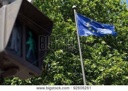 Green Light And European Union Flag