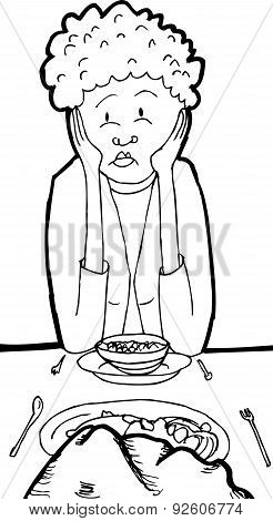 Outline Of Bored Woman At Table With Rock