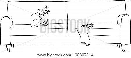Outline Of Cat On Damaged Sofa