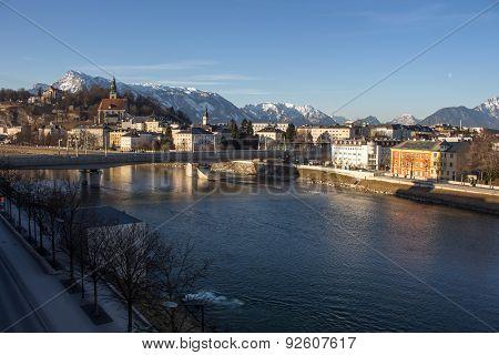 Cityscape At The River Salzach In Salzburg, Austria, 2015