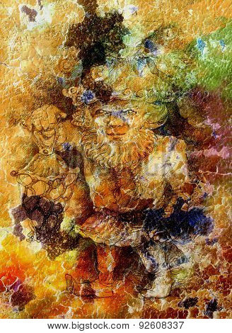 Fairy-tale Dwarf Holding A Magic Lantern, Color Crackle Background