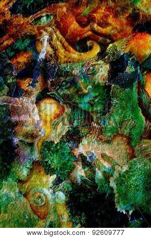 Emerald Green Elven Creature In A Fairy Realm,beautiful Colorful Fantasy Detailed Painting. Collage