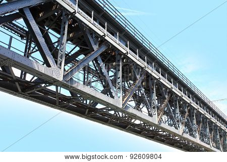 Close up of bridge steel construction. Industrial background.