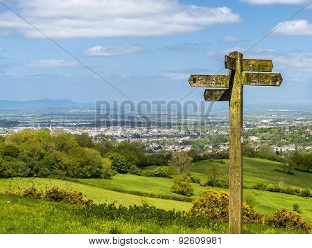 Cotswold Way Panorama Across Green Fields