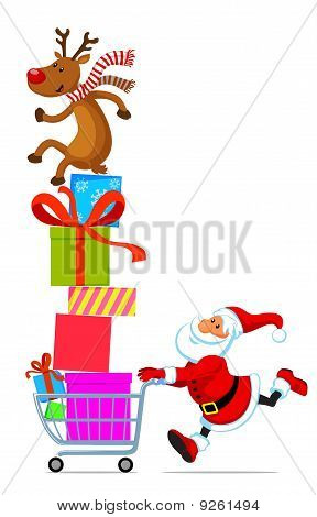 Santa With Shopping Cart Full Of Gifts