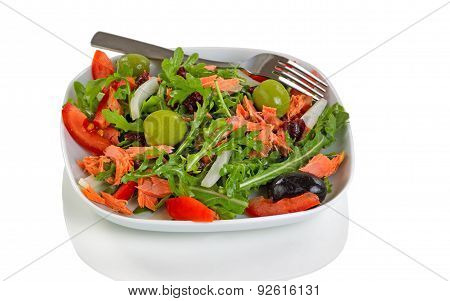 Fresh Healthy Salad For Lunch Isolated On White Background