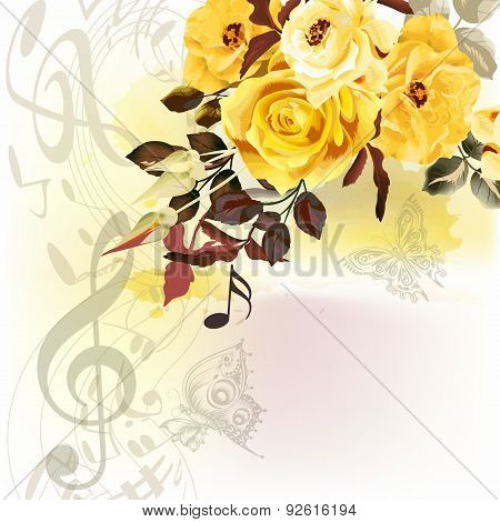 Grunge Music Romantic Background With Notes And Roses