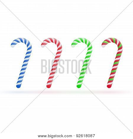 Christmas candy canes set isolated on white background. Vector illustration for your artwork, banner