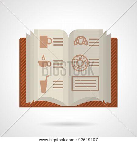 Brown menu flat color vector icon