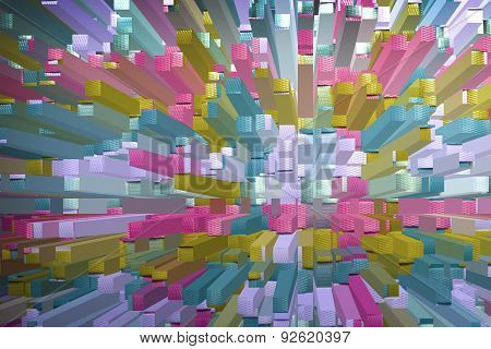Colorful Abstract Geometric Background With Square Extrude