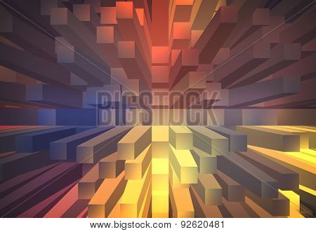 Blue And Orange Abstract Background With 3D Extrude