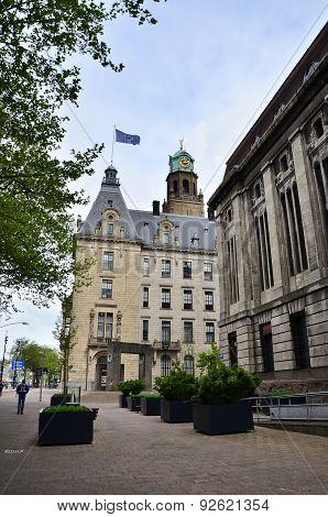 Rotterdam, Netherlands - May 9, 2015: People Visit Town Hall Of Rotterdam