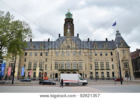 Rotterdam, Netherlands - May 9, 2015: People Visit Town Hall Of Rotterdam On May 9, 2015.