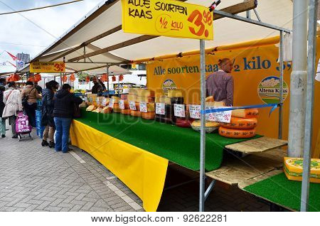 Rotterdam, Netherlands - May 9, 2015: Unidentified Sellers And Shoppers At The Street Market In Rott