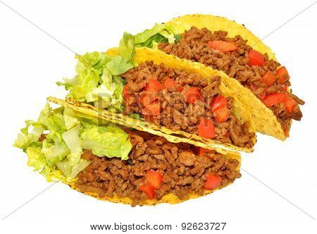 Three Beef Filled Tacos