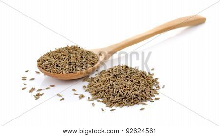 Caraway Thai Herbs Spices In The Wood Spoon On A White Background