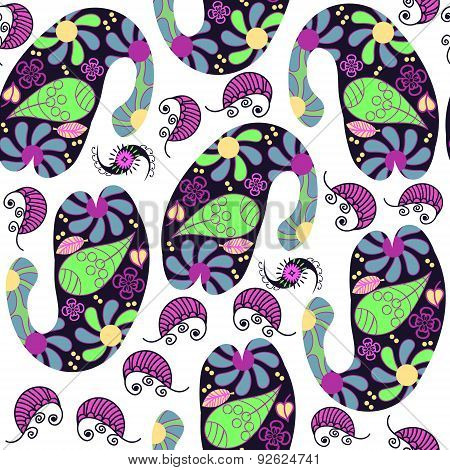 Paisley Seamless Colorful Pattern And Seamless Pattern In Swatch Menu, Vector Illustration