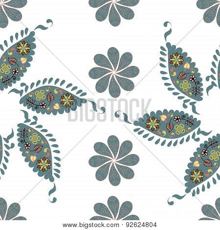 Paisley Seamless Simple Pattern And Seamless Pattern In Swatch Menu, Vector