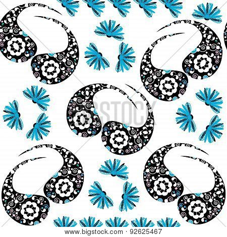 Paisley Seamless Pattern In White, Blue, Black Colors And Seamless Pattern In Swatch Menu, Vector. C