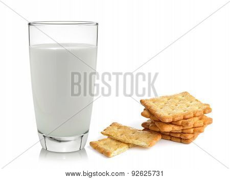 Milk And Cracker Isolated On White Background