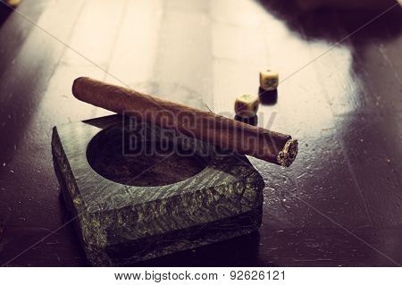 Granite Ashtray With Cigar