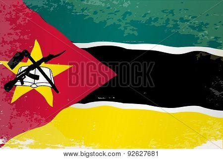Mozambique Flag Grunge