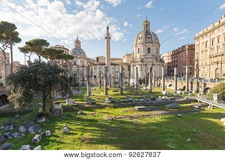 The Trajan's Forum (foro Di Traiano) In Rome, Italy