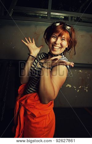 Funny Prisoner In Handcuffs