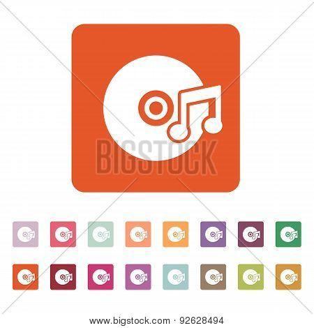 The Music Icon. Disc Symbol. Flat