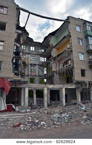 Ruined House In Slovyansk, Ukraine