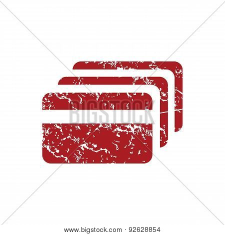 Credit card red grunge icon