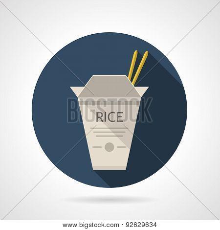 Rice box flat round vector icon