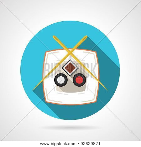 Japanese cuisine flat round vector icon