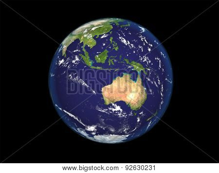 The Earth From Space Showing Australia And Indonesia. Extremely Detailed Image