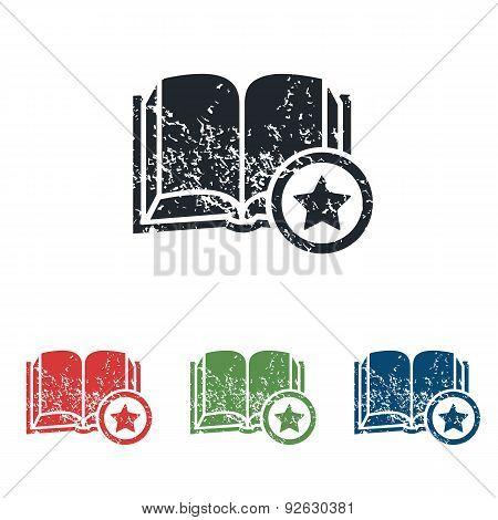 Favorite book grunge icon set