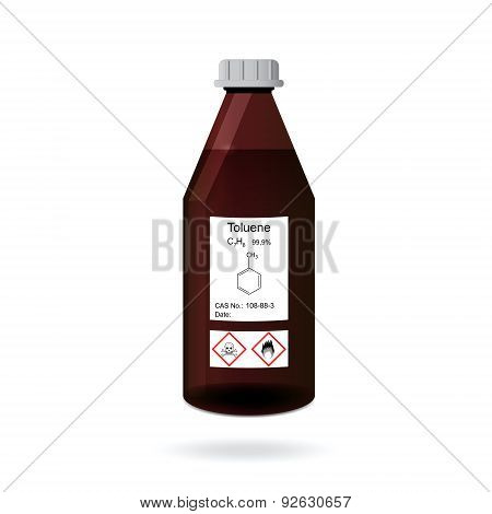 Bottle With Chemical Toxic And Flammable Solvent - Toluene