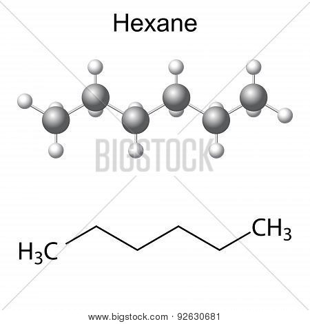 Chemical Formula And Model Of Hexane Molecule