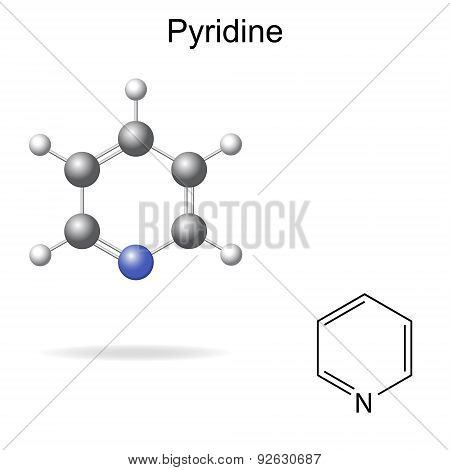 Chemical Formula And Model Of Pyridine Molecule
