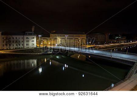 Lehener Bridge In Salzburg At Night, Austria, 2015