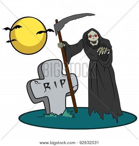 Halloween creature on graveyard