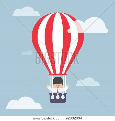 Businessman In Hot Air Balloon