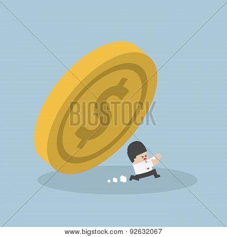 Businessman Running Away From Falling Dollar Coin